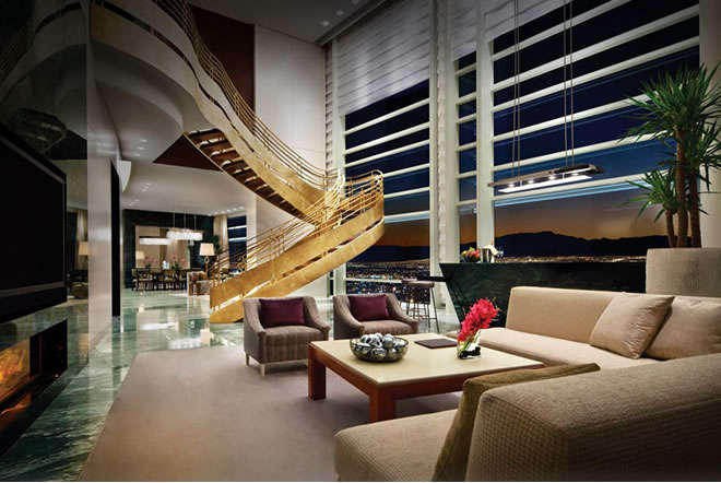 Aria Sky suite gold stairs